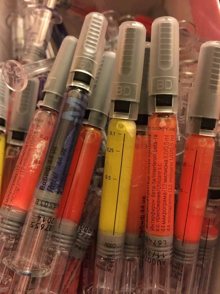 I filled them up with acrylic colors